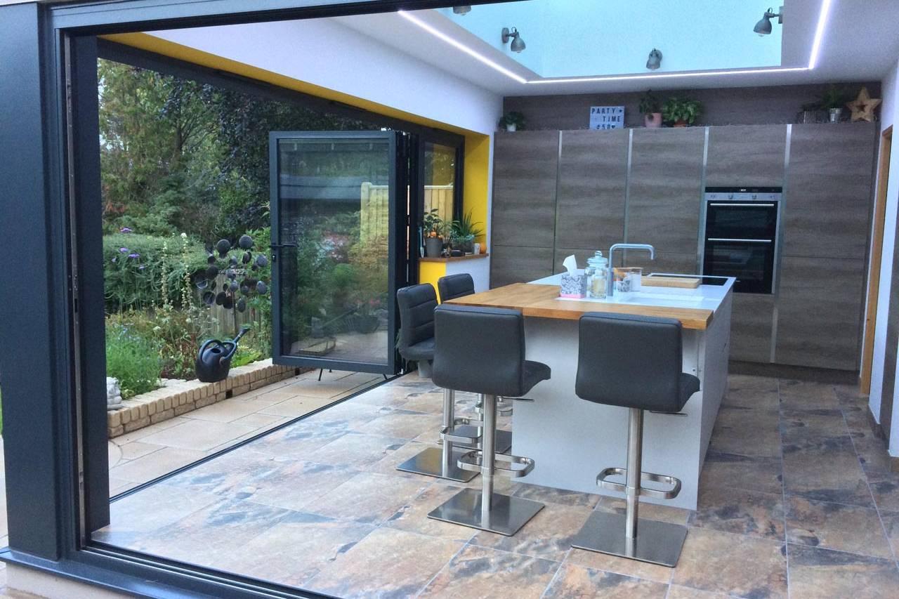 Kitchen Extension Doors Open